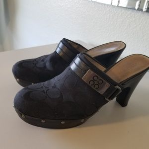 Coach Black clogs signature canvas. Size 8.5
